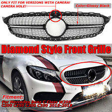 Diamond Grill Grille With CAMERA HOLE For Mercedes Benz W205 C200 C250 C300 C400