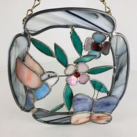 Vintage Stained Glass Hummingbird Hanging Window Suncatcher Butterfly Flower
