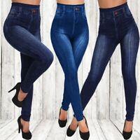 Women Pencil Pants Leggings Imitation Pants Denim High Waist Plus Size