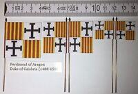 5x 25/28mm Medieval Flags Banner Standard Ferdinand of Aragon Duke of Calabria