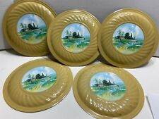 "5 Vintage Decorative Flue Covers 3F-72 - Country Scene - 9 1/2"" Diameter"