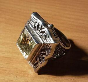 Vintage Silver/White Metal Lemon Gem Set Statement Style Ring