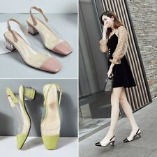 Women Fashion Patent Transparent Square Toe Block Heel Slingback Court Shoes SKG