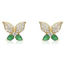 14K YELLOW GOLD DIAMOND CLUSTER & EMERALD BUTTERFLY FLOWER  STUD STUDS EARRINGS