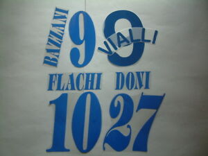 KIT NOME+NUMERO UFFICIALI SAMPDORIA AWAY 2003-2004 OFFICIAL NAMESET PLAYER SZ