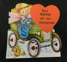 "Vintage 1950's School Valentine Girl in Model T ""You Auto Be My Valentine"" V208"