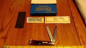 Vintage Schrade N.Y. USA Heritage 2941-B Trapper Brown Bone Pocket Knife 1986