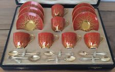 Royal Worcester Cased Cups Saucers And Silver Spoons
