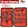 15PCS Manicure Pedicure Set Nail Clippers Callus Remover Kit Hand Care Tool US