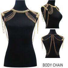 New listing Women Double Shoulder Chain Tassel Necklace Body Gold Chain Necklace Jewelry