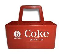 Vtg COCA-COLA One Pint Soda BOTTLE PLASTIC CARRIER Crate 8-PACK CADDY Coke 16oz