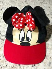 Girls Kids DISNEY MINNIE MOUSE Baseball Cap Ear Hat Red w/ Polka Dots & Bow