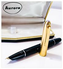 Pen Fountain Pen Vintage Aurora 88 Black Hood Golden Years '50 with Box