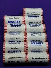 11 Presidential Dollar UNC roll 275 Coins Lincoln, Jefferson, Adams, Tyler +more