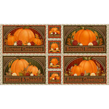 "Harvest Greetings Pumpkin Autumn Cotton Fabric Quilting Treasures 24""X44"" Panel"