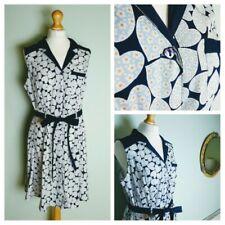 H by Henry Holland Size UK 16 Heart Print Rockabilly Shirt Dress Retro Blue Navy