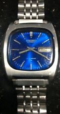 SEIKO VINTAGE 17 JEWELS BLUE AUTOMATIC MEN'S WATCH-7006-5019 RARE 1972 DAY-DATE