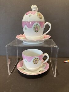 PINK LUSTER HAND-PAINTED - PAIR OF LARGE CUPS & SAUCER - ONE WITH COVER - WOW!