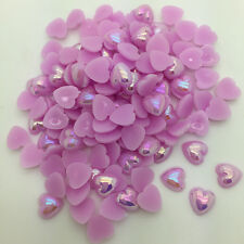 New 12mm 50pcs Heart-Shaped Pearl Bead Flat Back Scrapbook For Craft Purple
