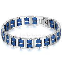 Men's Biker Stainless Steel Blue Rubber Bracelet Motorcycle Chain Bangle Cuff