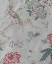 Antique French Time Softened Chinesoire Bird Floral Linen Fabric ~green pink red
