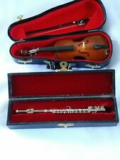 Absolutely Beautiful Miniature Silver Flute And Wood Violin/Bow With Cases