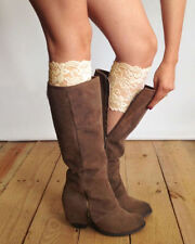 Stretch Lace Boot Cuffs Leg Warmers Beige/Apricot Trim Toppers Socks