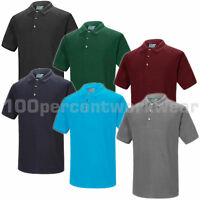 Aqua Premium Mens Polycotton Pique Polo Shirt Short Sleeve Work Wear Plain New