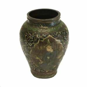 Middle Eastern Enameled Copper Miniature Vase, Archaic Style, Likely 18th C.