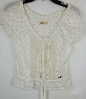 Hollister Womens Size XS White Blue Dots Peasant Blouse Blue Short Sleeve Shirt