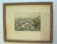 Hand Colored Etching Framed Self Matted Kaufbeuren Bavaria Germany Signed