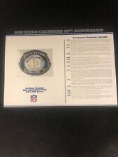 New listing San Diego Chargers Willabee & Ward 40th Anniversary 2000 Season Patch with Card