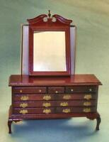 VINTAGE DELUXE DRESSER WITH MIRROR MAHOGANY #9818 DOLLHOUSE FURNITURE MINIATURES