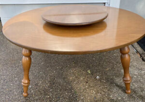 Vintage Beautiful Ethan Allen Baumritter Heirloom Maple Lazy Susan Coffee Table