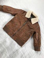 Gymboree Sherpa Bomber Moto Faux Leather Jacket 18-24 Brown Zip