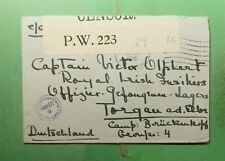 DR WHO 1916 IRELAND? POW? FREE FRANK TO GERMANY WWI CENSORED  g40547
