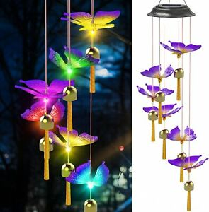 Solar Butterfly Wind Chimes LED Color Changing Chime Outdoor Waterproof Stock AU