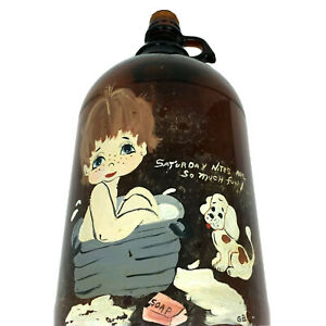 Vtg Lg Brown Glass Finger Jug Hand Painted ''Saturday Nites Are So Much Fun''