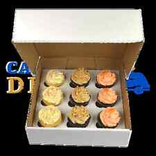 50 X 9 Cupcake (Corr) white Box with 6cm Dividers FREE NEXT DAY DELIVERY