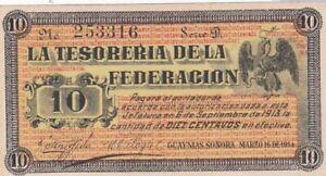 AU 1914 Mexico Sonora La Teroreria de la Federation 10 Centavos Note, Pick S1058