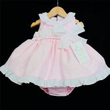 New Arrival Baby Girl Spanish Bow Pink Puff Dress With Pants Set Romany