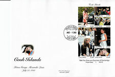 Isole Cook 2013 FDC ROYAL BABY 7V M / S COVER Nascita Principe George William Kate