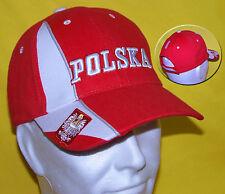 POLOGNE: CASQUETTE POLSKA ROUGE coton brossé lourd Broderie 3D POLAND Czapka