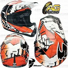 Thor 2014 Quadrant Fragment Orange White Kids Race Helmet X-Large XL Motocross