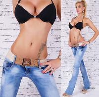Women's hipster jeans Blue Wash bootcut jeans Inc Belt UK Size 6, 8, 10, 12, 14
