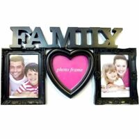 DECORATIVE BLACK FAMILY PHOTO FRAME MULTI PICTURE WALL HANGING APERTURE HOLDER