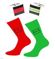 Port & Starboard Stripe Cufflinks and Coloured Socks Gift Set Nautical Gift