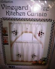 WINE THEMED EMBROIDED MULTI COLOR KITCHEN CURTAIN WINDOW TREATMENT SETS
