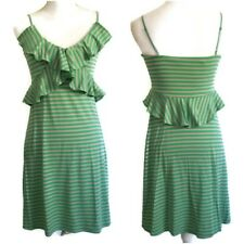 Chelsea & Violet Dress Small Ruffle Detail Green Taupe Stripe