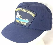Vtg Frank H Brown Ship Hat Snapback Patch Cap White Pass Transportation Boat 80s
